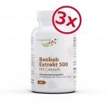 3er Pack Baobab Extrakt 500 Mit Calcium und Folsäure 3 x 90 Kapseln Vegan/Vegetarisch