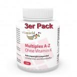 3er Pack Multiplex Multivitamin A-Z ohne Vitamin K 360 Vegi Kapseln