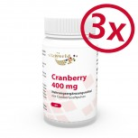 Pack di 3 Mirtillo rosso 400mg 3 x 60 Capsule (Cranberry)