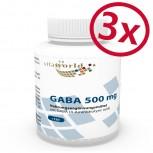 3er Pack GABA (Gamma-aminobutyric acid) 500mg 3 x 120 Vegi Kapseln