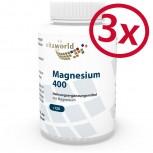 3 Pack Magnesium 400mg 3 x 120 Capsules Vegetarian/Vegan