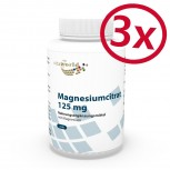 3 Pack Magnesium Citrate 125mg 3 x 120 Capsules Vegetarian/Vegan