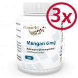 Pack di 3 Manganese con Minerali 6 mg 3 x 120 Capsule Vegetariano/Vegano