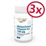 Pack di 3 Menaquinone Vitamina K2 100µg 180 Capsule Vegetali