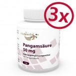 Pack di 3 Acido pangamico vitamina B15 50mg 360 Capsule