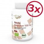 3 Pack Reishi Organic Powder  500mg  360 Capsules