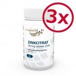Pack di 3 Citrato di Zinco 30 mg di zinco puro, 180 capsule