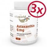 3er Pack Astaxanthin 6mg 3 x 60 Kapseln in Öl (Gelatinekapseln) - Haematococcus pluvialis Extrakt